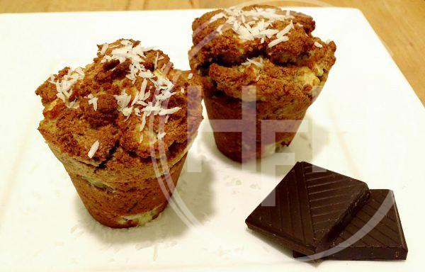 Kokosmuffins met appel en chocola